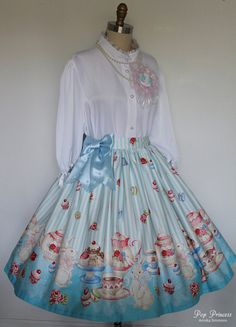 """Sweet Lolita Blue Bunny Tea Party Plus Size by lepopprincess, $250.00 Max waist: 44"""" Exceptional quality-- best I've seen on Etsy so far, but unfortunately you can feel it in the price. I'm pretty sure they do custom work, too, but I'm not sure how much that'd be, or what their limitations are. Lots of great prints though!"""