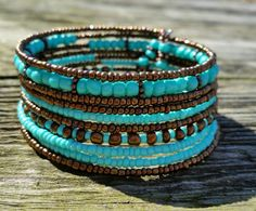 Turquoise and copper wrap bracelet on memory wire