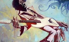 Jimi by Gabe Leonard. Limited edition. Giclee hand-embellished on canvas.. Signed and numbered by Gabe. #JimiHendrix #OilPainting #Buy 56 x 94 Cms. Availability: In Stock