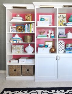 combine two Billy bookcases with a Besta base cabinet and shelving unit from IKEA to provide some closed storage
