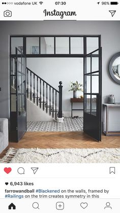 Crittall-style has been staging a comeback – and not just as windows and doors, but as walls, rear extensions, room dividers and even shower screens. Crittal Doors, Crittall Windows, Flur Design, Hallway Designs, Room Doors, Hallway Decorating, Decorating Ideas, Home Renovation, Home Interior Design