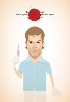 Dexter illustration by Stanley Chow. Funny Caricatures, Celebrity Caricatures, Celebrity Drawings, Dexter Poster, Stanley Chow, Dexter Seasons, Michael C Hall, Cinema Tv, Simple Illustration