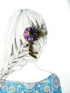 Barrette Métal et Tissu Violet en Soie,Style Bohême,Cristal Swarovski et Breloque Oiseau : Accessoires coiffure par mon-armoire-jolie