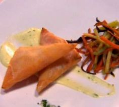 Beetroot and Goats Cheese Samoosa with Crispy Vegetables and Chive Mayonnaise