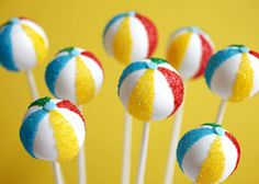 Beach Ball Cake Pops great for summer parties