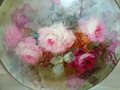 "Magnificent - T&V - Limoges - France - 16"" - Charger - Tray - Platter - Hand Painted - Romantic - Victorian Bouquets - Pink Tea Roses - Artist Signed - Master Artist - FRANZ BERTRAM  AULICH - One-of-a-Kind - Museum Quality -  Rare Historical Treasure"