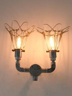 039421 Industrial double wall light with gold cages to encase the filament lamps. Size: Width - 150mm Height - 250mm Projection - 100mm Lamp Type - E27