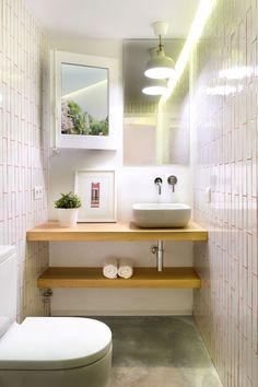 decoración de baños modernos Pequeño formato y microcemento