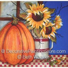 Create this project with Americana® Acrylics — A plump pumpkin and bright sunflowers grace a fall-themed wall canvas. Fall Canvas Painting, Autumn Painting, Autumn Art, Canvas Art, Fall Paintings, Wall Canvas, Canvas Ideas, Diy Painting, Fall Pictures