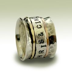 Wedding band Sterling silver band with engraved by artisanlook. $270.00, via Etsy.