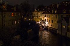 Certovka river by night - Magic night at Prague