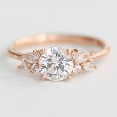 Morganite engagement ring rose gold Unique diamond Cluster ring Vintage wedding Mini stone Bridal set Jewelry Anniversary Gift for women - Fine Jewelry Ideas Classic Engagement Rings, Beautiful Engagement Rings, Rose Gold Engagement Ring, Engagement Ring Settings, Diamond Wedding Bands, Cluster Engagement Rings, Art Deco Engagement Rings, Inexpensive Engagement Rings, Unconventional Engagement Rings