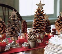 I took the pinecones and hot glued them on to old canning jar rings and made paper stars that i glittered and glued to a tooth pick and then glued to the pinecone.  Used them table top decorations at a christmas party and some of the women wanted to take them home.  they turned out cute.