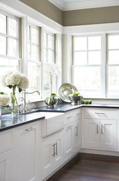 white kitchen with black countertops - Google Search