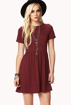 Basic Heathered Dress (#2002246224): A basic heathered dress featuring cuffed short sleeves. Round neckline. Shirred waist. Knit. Unlined. Lightweight. 48% Cotton, 45% Polyester, 7% Rayon. Hand wash cold, line dry $13.80