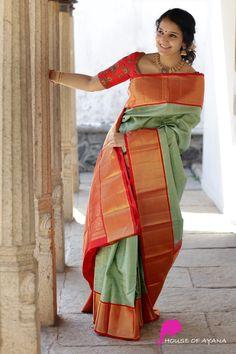 Vishakha - House of Ayana Half Saree Designs, Silk Saree Blouse Designs, Fancy Blouse Designs, Bridal Blouse Designs, Blouse Patterns, Bridal Sarees South Indian, Bridal Silk Saree, Saree Wedding, Wedding Saree Collection