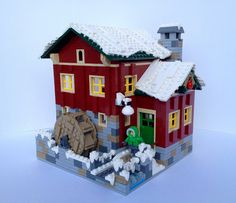 My first time entering the Expand the Winter Village contest. Here is my entry with a Cider Mill. Turning of the water wheel churns applies inside, where ap. Village Lego, Lego Christmas Village, Lego Winter Village, Christmas Villages, Harry Potter Advent Calendar, Lego Advent Calendar, Lego For Adults, Lego For Kids, Lego Gingerbread House