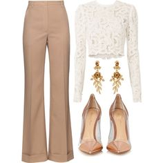 A fashion look from December 2016 by ivana-j featuring A., Nina Ricci, Gianvito Rossi and Oscar de la Renta Classy Work Outfits, Office Outfits, Stylish Outfits, Fashion Outfits, Fashion Trends, Running Errands Outfit, Spring Summer Fashion, Autumn Fashion, Outing Outfit