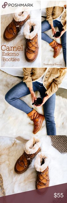 """❄️ Camel Eskimo Booties Undeniably adorable Camel Eskimo winter snow Booties. Go out in style with these on this winter. Brand new in box.  1"""" platform sole  1.5"""" heel Faux leather upper  Front lace design  Foldable slouchy shaft  Fur lining  Durable Shoes Ankle Boots & Booties"""