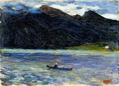 Painter Wassily Kandinsky. Painting. Kochel - Lake with Boat. 1902 year