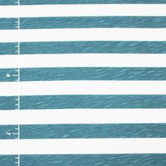 Deep Teal Blue and White Stripe Slub Cotton Jersey Knit Fabric
