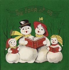 Vintage Christmas card from a family of four, featuring Mr. & Mrs. Snowman and their two children.