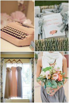 Peach and grey wedding