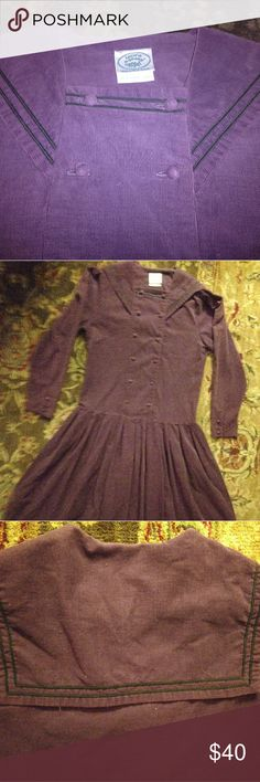 Vintage Laura Ashley sailor dress size 8 EUC! This soft purple corduroy dress is 100% Cotton. It has black nautical trim on the collar. It measures: Bust 18 inches, Sleeve 22 inches, Length 45.5 inches. Non smoking home. Laura Ashley Dresses Long Sleeve