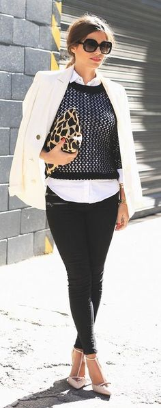 black, white and leopard....love the cropped sweater over a white button down!