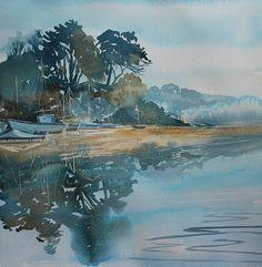 Cornwall landscape painting Port Navas Creek watercolour of