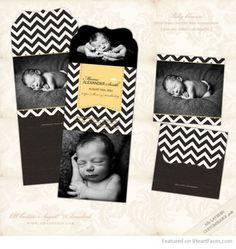 Chevron Folded Birth Announcement - Free Birth Announcement Templates for Newborn Photographers via I Heart Faces