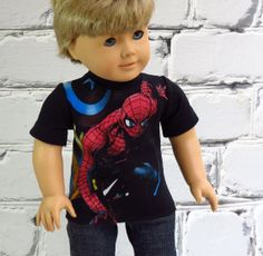 Your American Girl boy doll can fight crime in this fabulous graphic tee! by SewFunDollClothes
