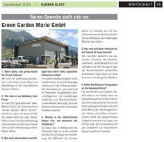 Interview mit Mario Dadic von Green Garden Mario in der heutigen Ausgabe vom Rarner Blatt