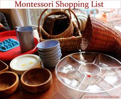 Montessori Shopping List!  What to look for at a thrift store for Montessori works.  by Montessori Mishcief
