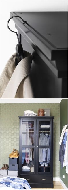 The UNDREDAL clothes cabinet adds a dark, smooth look to your bedroom, as it proudly puts your clothes on display.