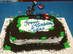 Fifth Birthday Cake, Dirt Bike Cakes, Cake Ideas, Party Ideas, Desserts, Crafts, Food, Tailgate Desserts, Deserts