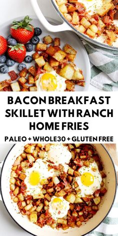 This Bacon Breakfast Skillet with Ranch Home Fries is a true comfort food meal Skip the busy breakfast joint and enjoy this dish while in your jammies paleo breakfast glutenfree # Breakfast Skillet, Whole 30 Breakfast, Bacon Breakfast, Nutritious Breakfast, Breakfast Recipes, Whole30 Breakfast Ideas, Breakfast Casserole, Brunch Recipes, Healthy Brunch
