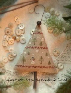 Primitive Cross Stitch Christmas Tree by PrimitiveQuilting on Etsy, $9.00