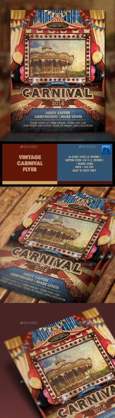 Vintage Carnival Flyer — Photoshop PSD #carnival flyer #flyer • Available here → https://graphicriver.net/item/vintage-carnival-flyer/13290525?ref=pxcr