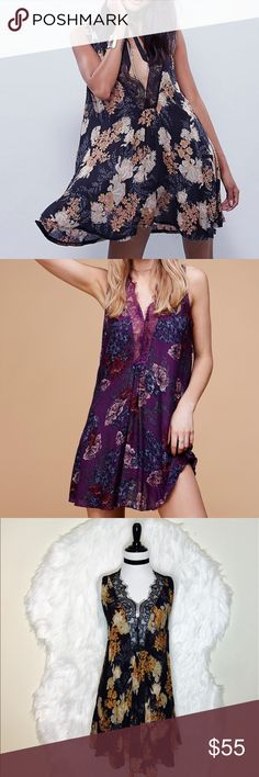 """Free People So You Printed Slip Dress Swingy and sheer slip in a dotted jacquard, featuring a floral print and plunging V-neckline, trimmed in lace.  Intimately  Please Note: The neckline on the Cobalt Combo and the Night Combo is not as plunging as it appears in the photos. Please refer to the Tea Combo for the correct neckline. Also the lace on the Cobalt Combo is black, not blue as shown. 100% Rayon Hand Wash Cold Import. Laid flat across @ bust: 21"""", length: 32"""". NWOT Free People Dresses…"""