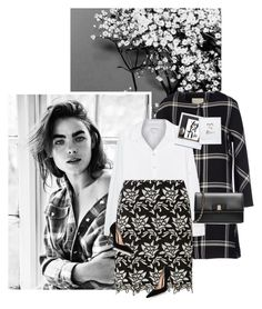 """""""Bambi"""" by chebear ❤ liked on Polyvore featuring Velvet, Dorothy Perkins, Salvatore Ferragamo, Gianvito Rossi, floral and blackandwhite"""