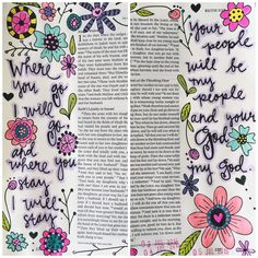 I finished my #biblejournaling entry in #Ruth this afternoon. I love this book. // I almost got on here yesterday and told you how I really feel sometimes when I post these pages -- and that is that I am a fraud. Who am I to share God's love? My walk isn't perfect. My life is crazy & chaotic. I'm a sinner. But then I know that's satan speaking. He's trying to discourage me or motivate me with things that don't matter. That's not the truth. I know in my heart that God can use my faults as…
