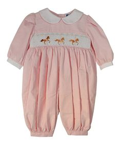 Loving this Light Pink Smocked Carousel Playsuit - Infant on #zulily! #zulilyfinds
