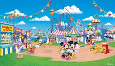disney wall murals for kids rooms | Disney Mickeys Amusement Park Mural - Wall Sticker Outlet