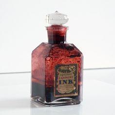 Antique Thaddeus Davids Co Ink Bottle - Brilliant Carmine Ink Glass Bottle with Paper Label