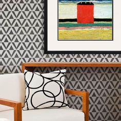 Asmir Triangle Wall Stencil in black and white color combo for tribal and geometric graphic pattern - by Royal Design Studio in Raven + Lily designer stencil collection