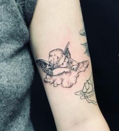 Fine line cherub done at Paper Moon Tattoo Company Mini Tattoos, Small Tattoos, Piercing Tattoo, Future Tattoos, Tattoo Inspiration, Tatoos, Tatting, Body Art, Paper Moon