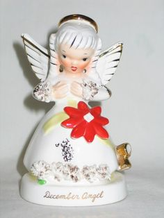 Vintage Christmas Napco Ceramic December Birthday Month Angel Poinsettia 1950's