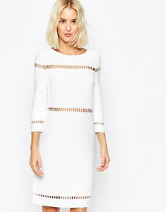 Image 1 ofASOS A-Line Dress in Structured Knit with Ladder Stitch Detail