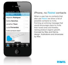 Rebtel, iPhone few Rebtel contacts. Designed to entice users to invite friends when they have few contacts using Rebtel.